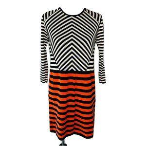 COS Shift Sweater Dress Black White Red Stripe S